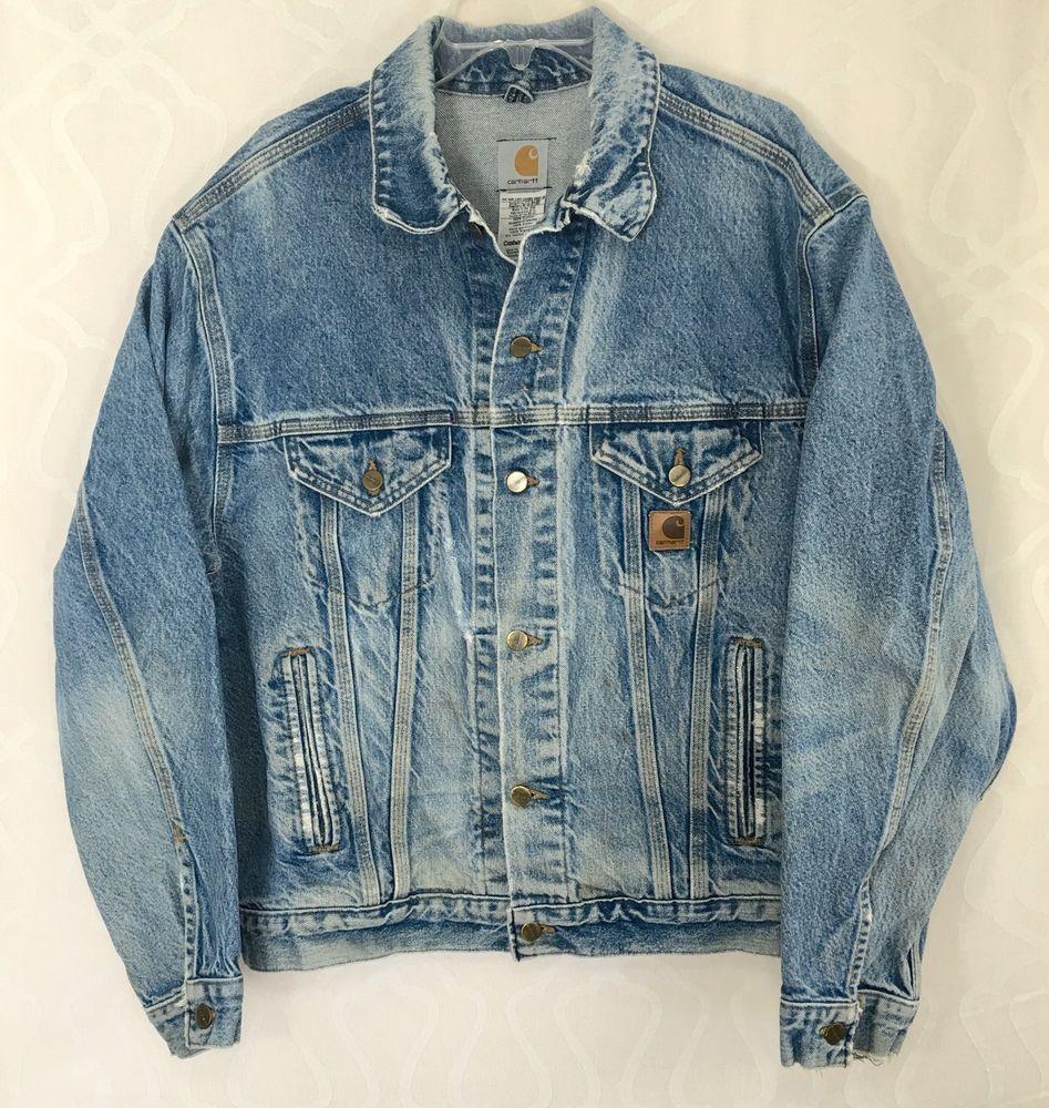 Carhartt Denim Blue Jean Jacket Distressed Destroyed Trucker Chore Coat Usa Sz L Carhartt Jacket Jackets Distressed Jean Jacket [ 1000 x 947 Pixel ]