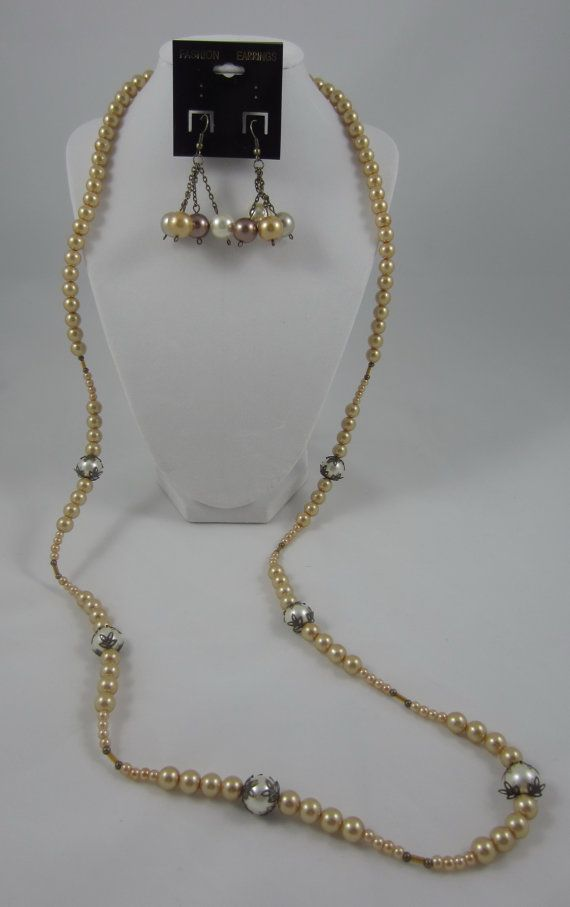 Light Yellow Long Dangling Pearl Necklace with by SummerCAmber, $30.00