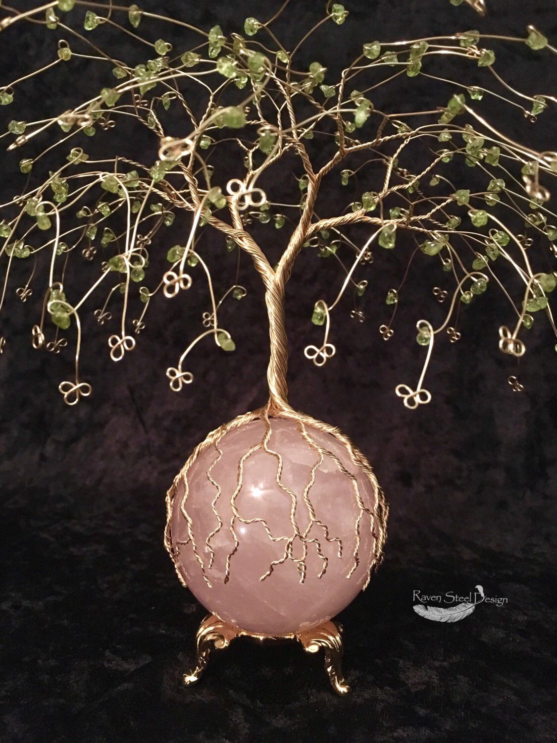 Peridot And Rose Quartz Wire Tree Of Life Sculpture 64 Mm Rose