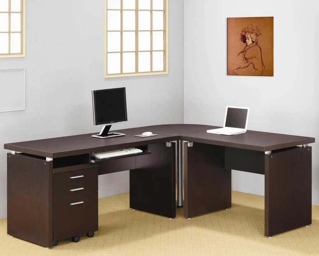 L Shaped Cappuccino Nickel Home Office Tables L Shaped Corner Desk Desk Design Desk Furniture