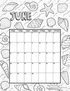14++ June 2021 calendar coloring page download HD