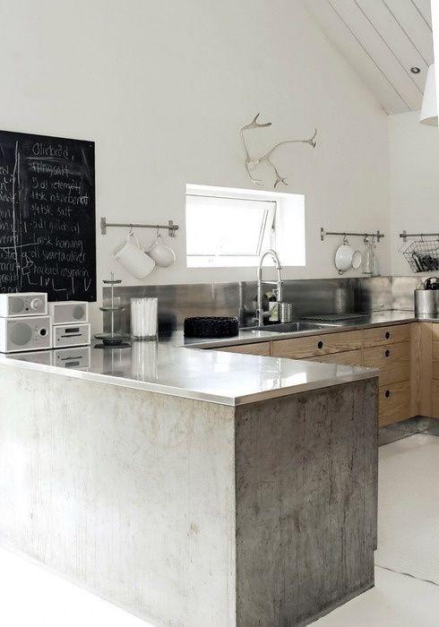 Qué tal una península de cemento? #cocina #kitchen Tendencias