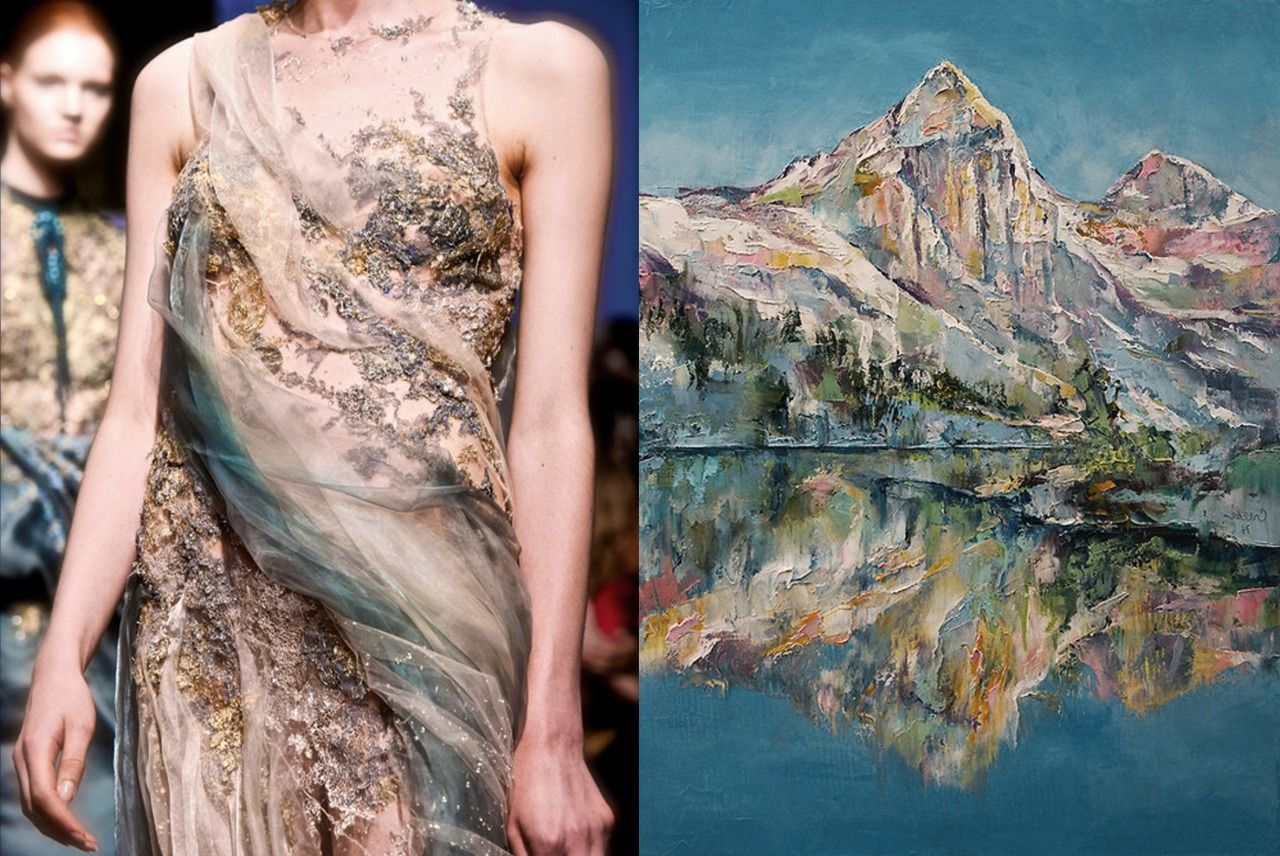 Match #130 Yiqing Yin Haute Couture Fall 2013 | Mountain Lake by Michael Creese, 2014 More matches here