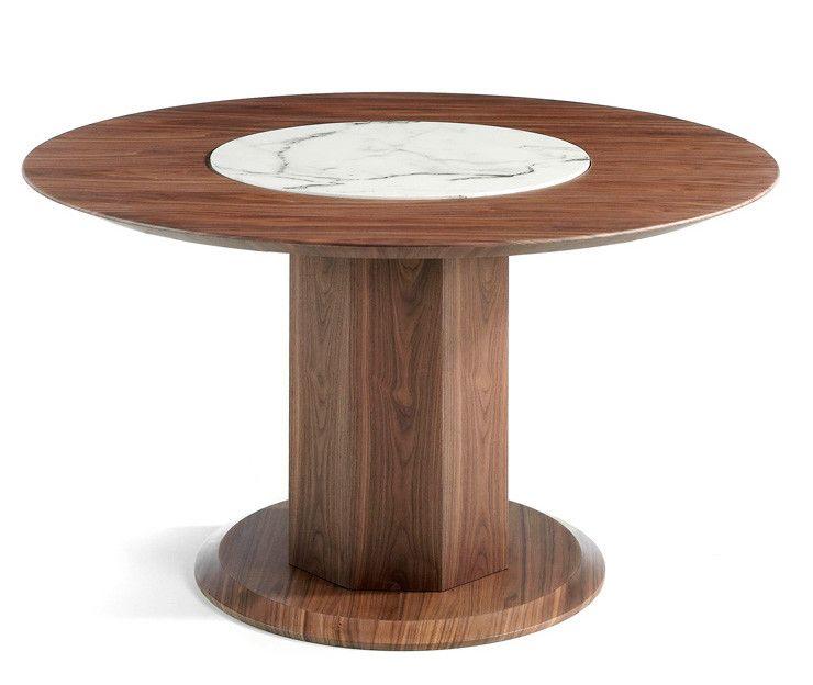 Table Ronde Bois Noyer Et Plateau Tournant En Marbre Ceramique Blanc Mykal En 2020 Table A Manger Ronde En Bois Table Ronde Bois Table A Manger Ronde