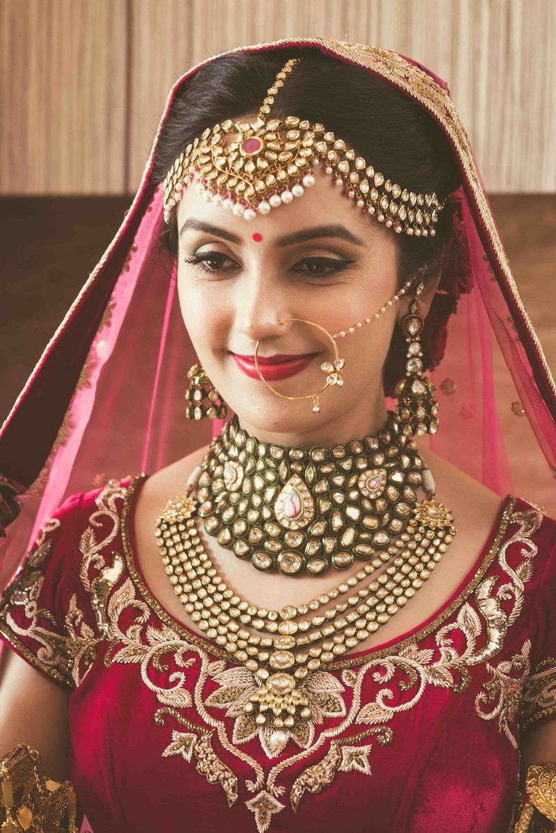Royal Bride Portrait In Mathapatti And Polki Choker 2018