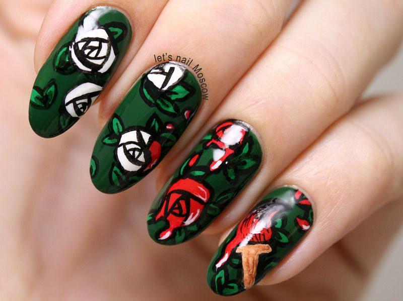 Nailpolis museum of nail art painting roses red disney alice nailpolis museum of nail art painting roses red disney alice in wonderland nail prinsesfo Images