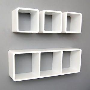 Cubi Di Legno Scaffale.Set Di 4 Mensole Cubi Scaffali Mensola Cubo Da Parete Bianco Legno