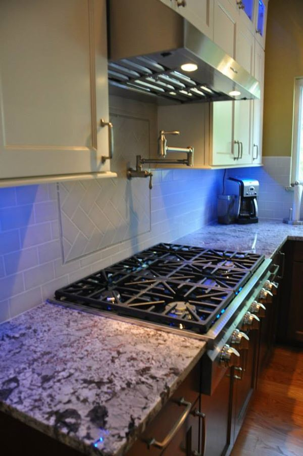Modern kitchen remodel by more for less remodeling granite countertop glass tile backsplash also st louis mo