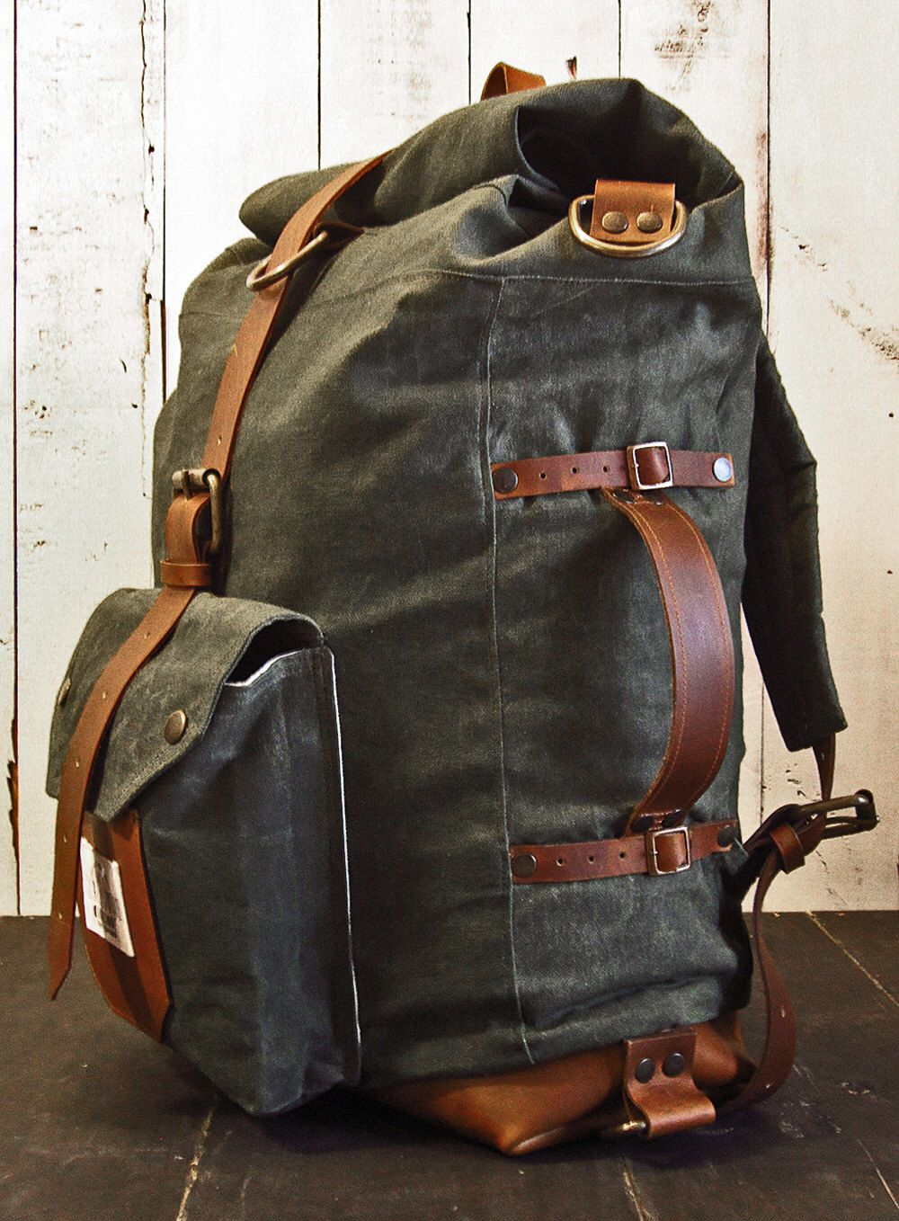 01f48ae676f8 The Nomad II Backpack - Hand waxed canvas leather roll top bag - 3 ways  rucksack