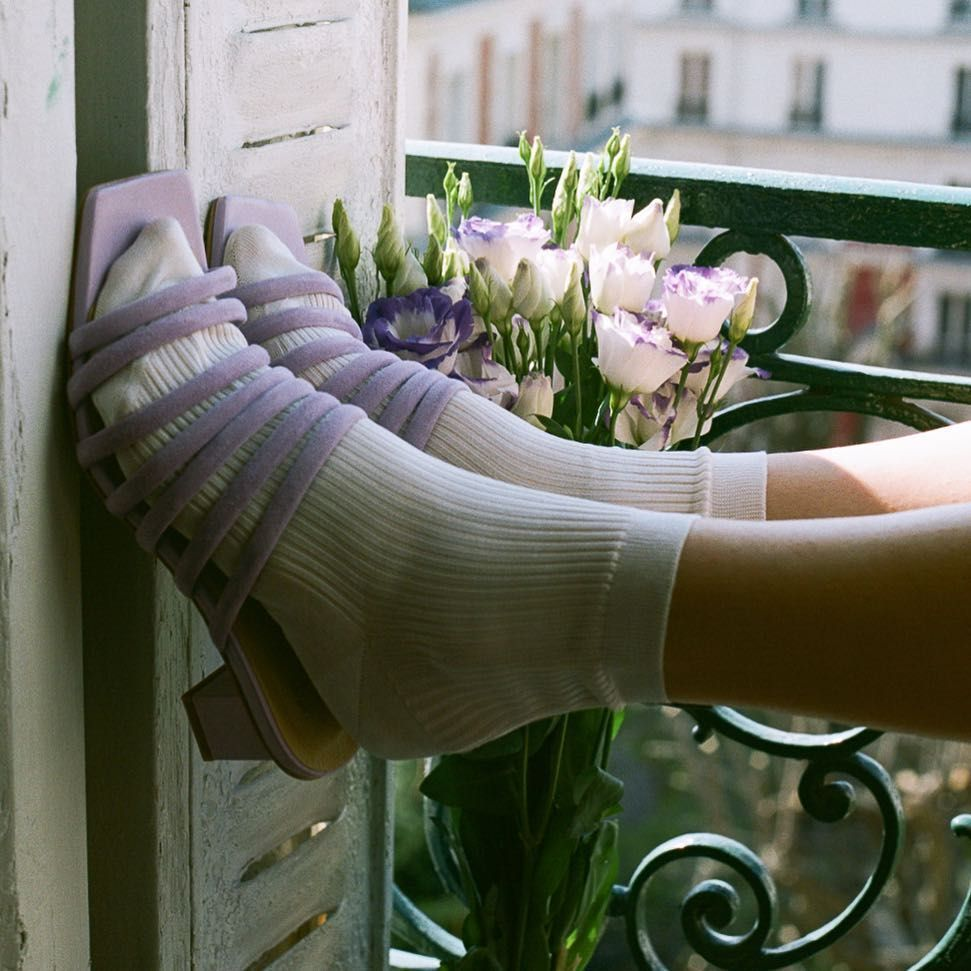 Alejandra is a squared toe mule in a soft lilac hue