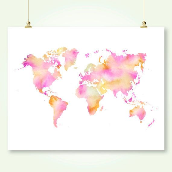 Watercolor world map download pink and orange girl nursery wall art watercolor world map download pink and orange by sunnyrainfactory gumiabroncs Gallery