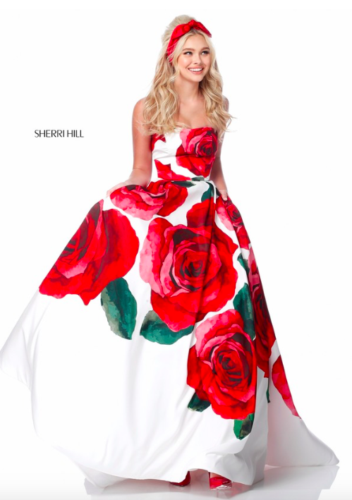 7758cf1423 SHERRI HILL 51887 Spring 2018 Collection YPSILON DRESSES Strapless Large  Red Rose Floral Print Ballgown Prom Pageant Evening Gown Sweethearts Dress  ...