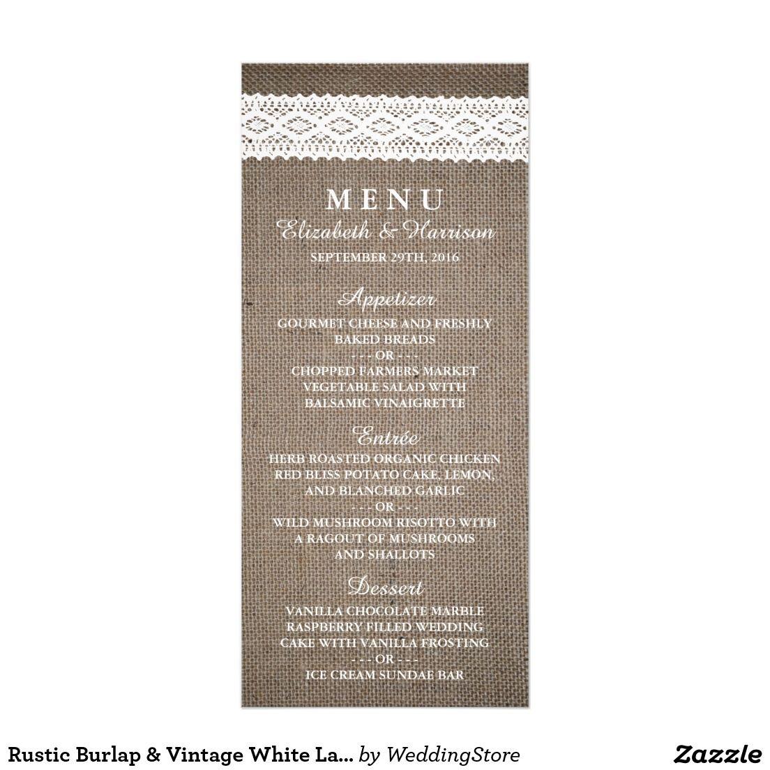 Rustic Burlap & Vintage White Lace Wedding Menu | WEDDING INVITATION ...
