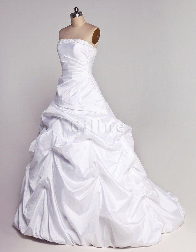 Juwel Mieder Außen Ballkleid Taft Plissiertes Brautkleid ...