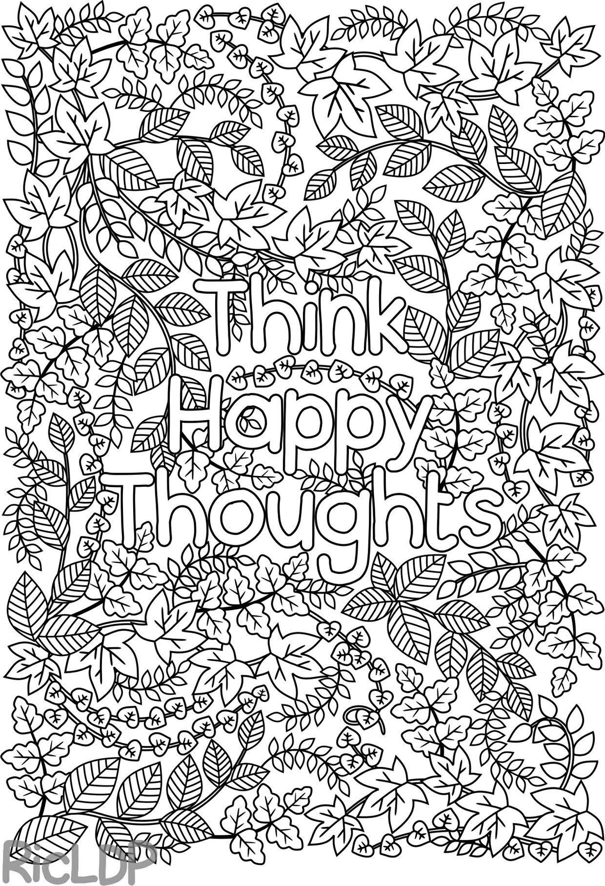 Think Happy Thoughts Coloring Page For Grown Ups