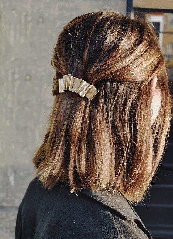 Gold Hair Clip, Wedding Hair Accessories, Bridal Hair Clip, Wavy Gold Barrette, Silver Hair Clip, French Barrette   Banner Barrette #hairaccessories
