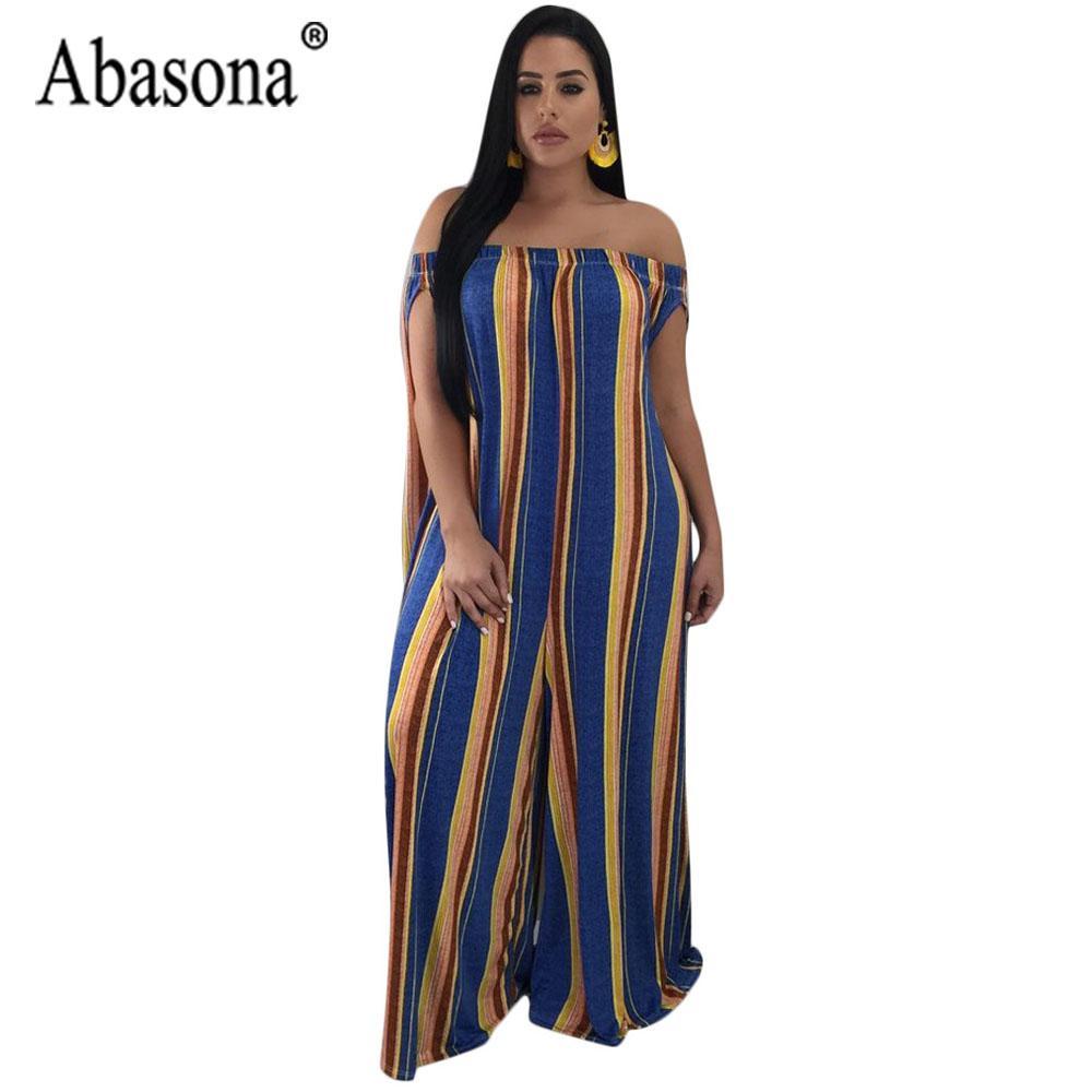 d004833cde04 Abasona Casual Loose Jumpsuits For Women 2018 Summer Off The Shoulder –  kats closet1
