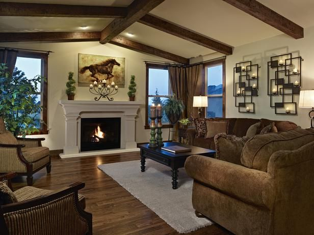 Cathedral Ceiling Living Room Exposed Timbers Highlight