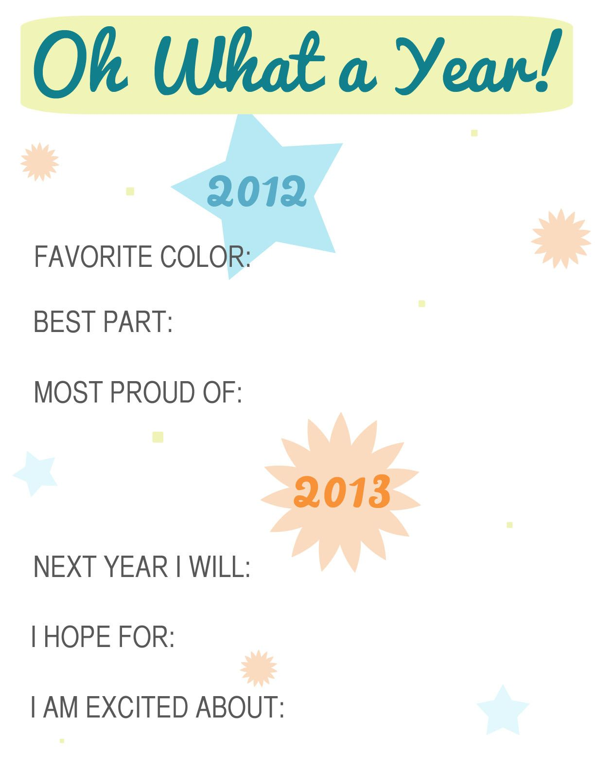 New Years Eve Reflection Sheet For Kids From Allisa Jacobs