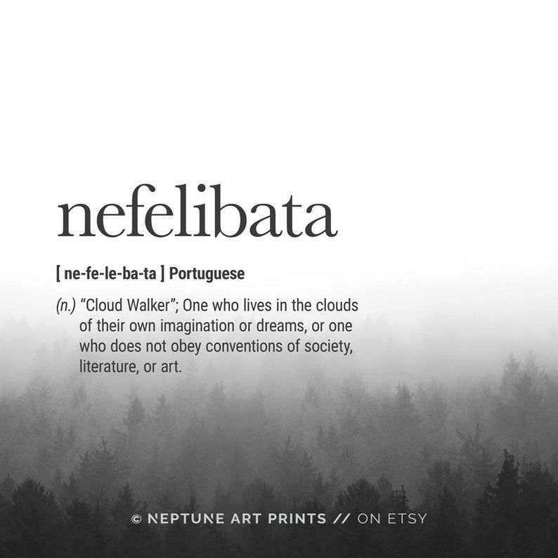 Nefelibata Definition Prints, Digital Download Instant Download Definition Print Modern Home Decor Travel Posters Digital Typography Art