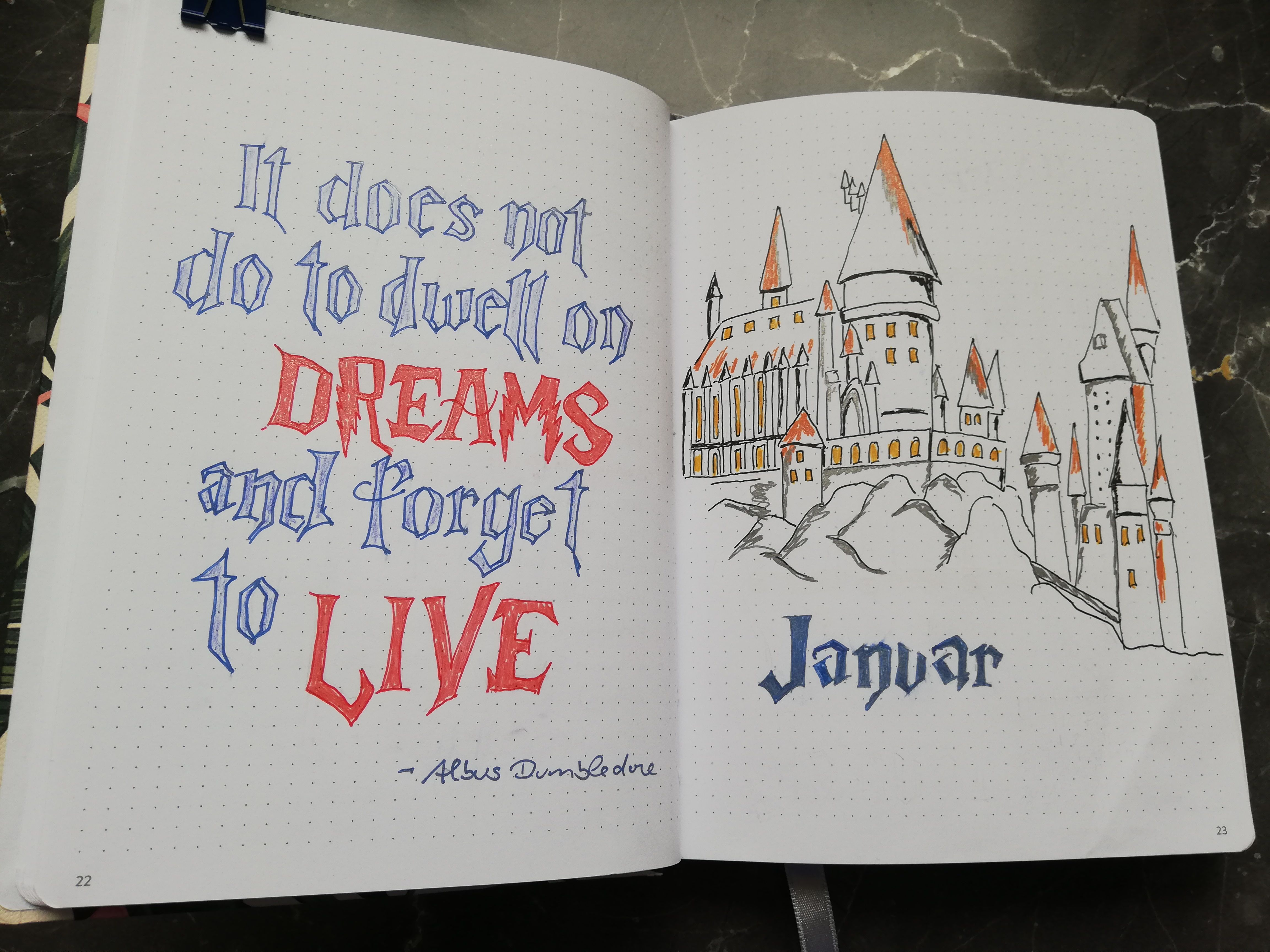 BuJo Monthly Cover: Harry Potter