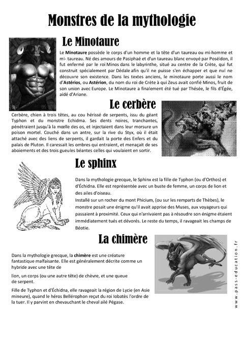 Les Monstres De La Mythologie Mythologie Mythologie Grecque Art Du Langage