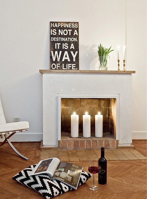 Home Decor Wish List // All White Fireplace U0026 Cozy Candles