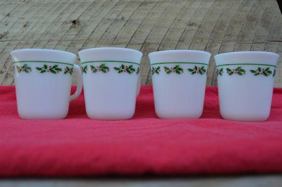 Corning Christmas Coffee Mugs www.thisoldnest.etsy.com  #Christmas #Christmasmorning #coffee #vintage #mugs #holly #decorating #corning #christmasdecor #christmascoffee