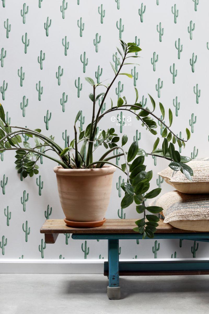 wallpaper small desert cactus intense emerald green 138900 #behang, Wohnzimmer dekoo