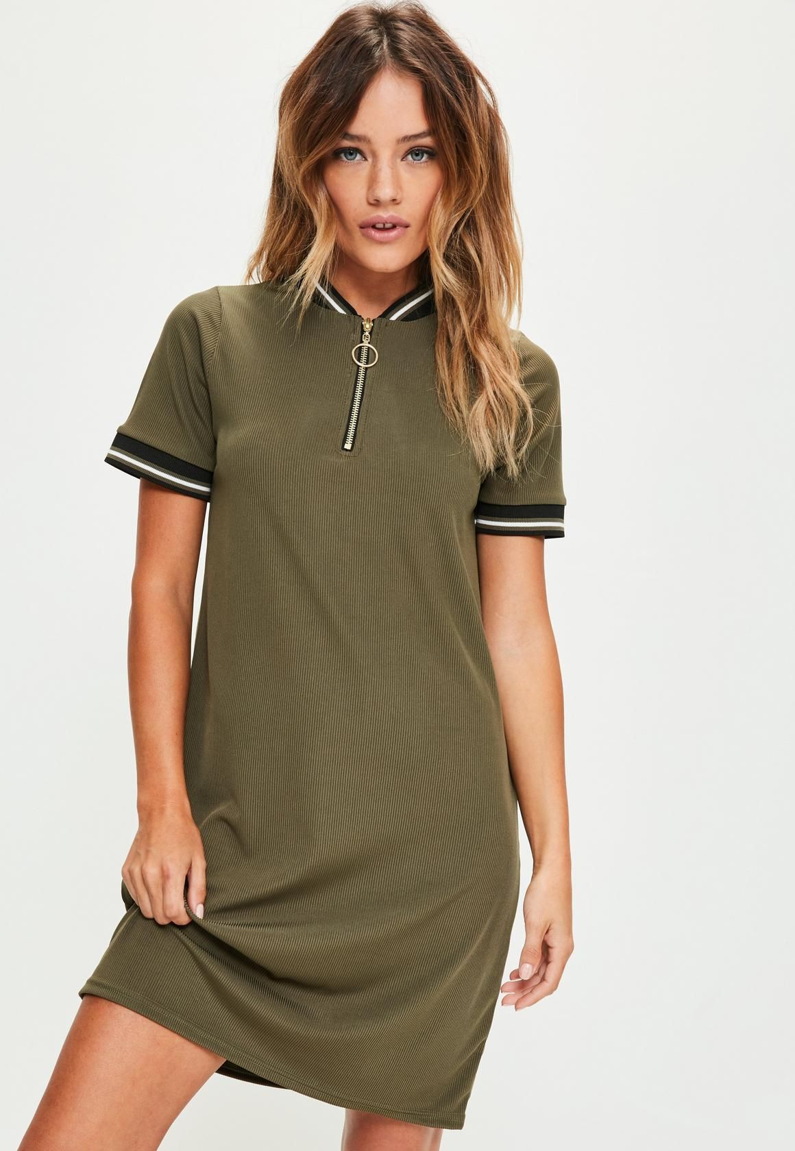 Missguided - Khaki Sports Ribbed Detail Shift Dress