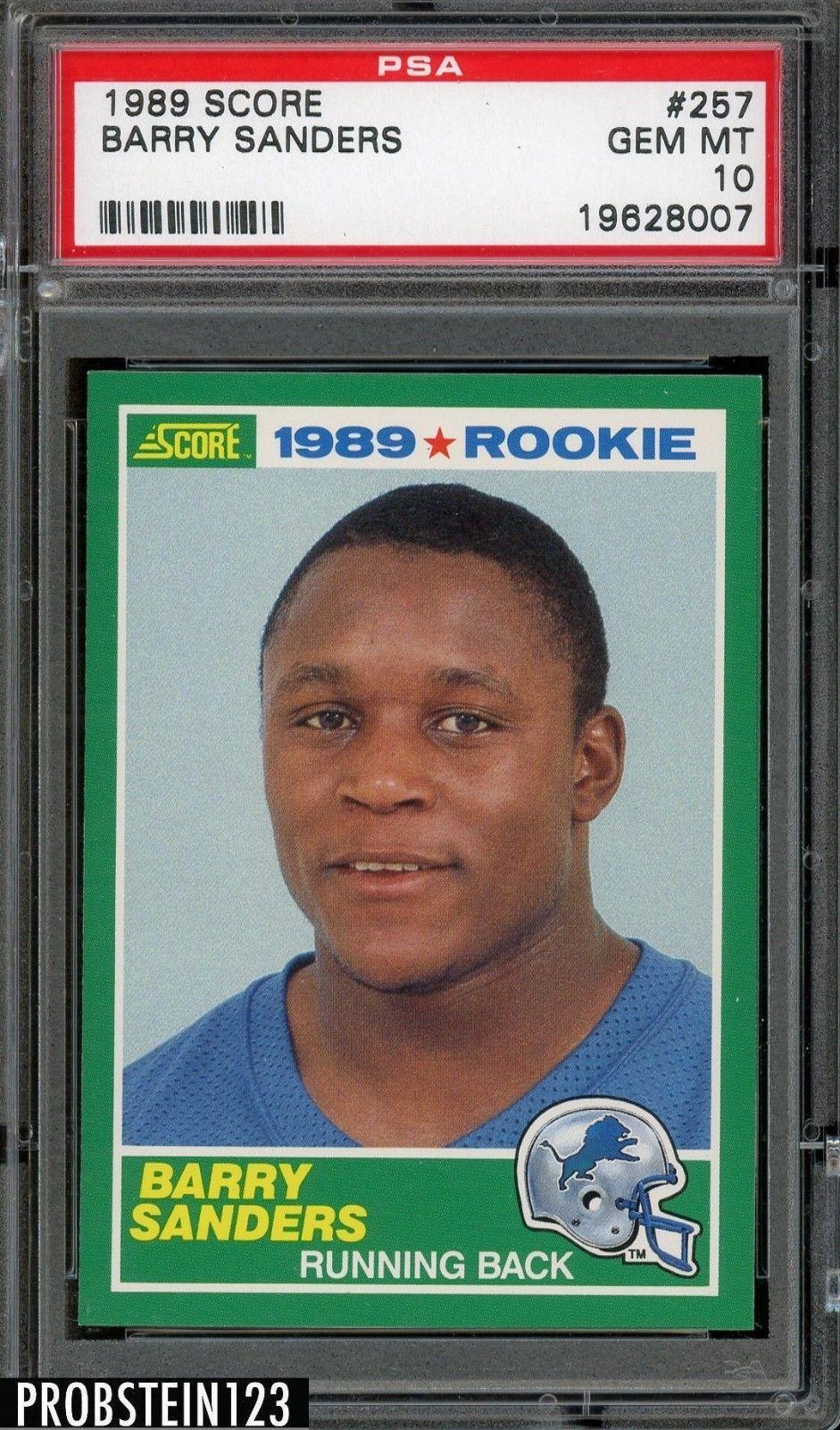 1989 score 257 barry sanders detroit lions rc rookie hof