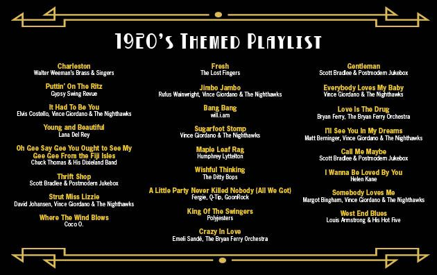 Dinner Music Playlist the perfect playlist for a 1920's themed event! | tasty weddings