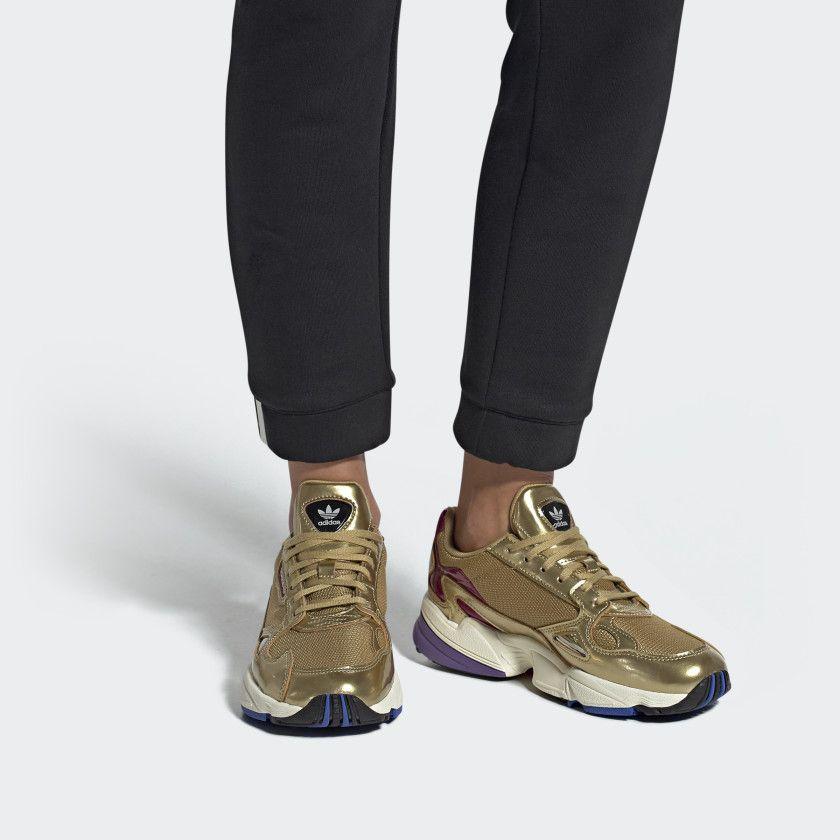 805b6d2ba3 Falcon Shoes Gold Metallic / Gold Metallic / Off White CG6247 Gold Adidas,  Adidas Women