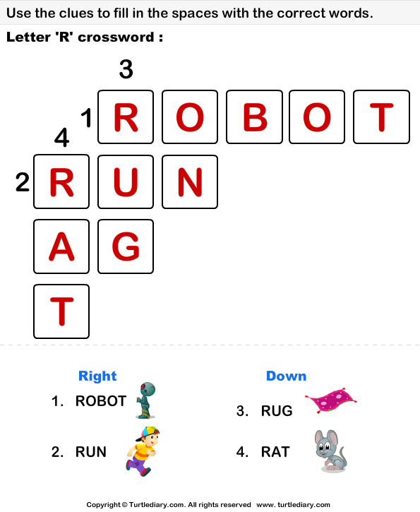 Alphabet Crossword Answer Cross Words Worksheets