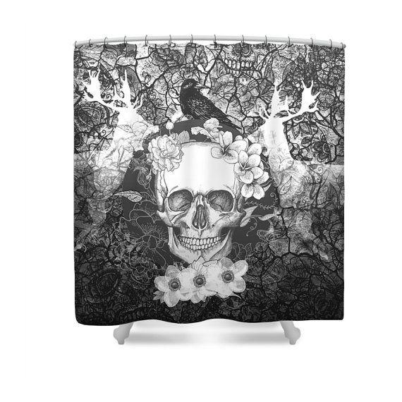 Sugar Skull Shower Curtain Black Gray Gothic Deer Crow Calavera Skull Floral With Images Sugar Skull Shower Curtain Skull Shower Curtain Black Curtains
