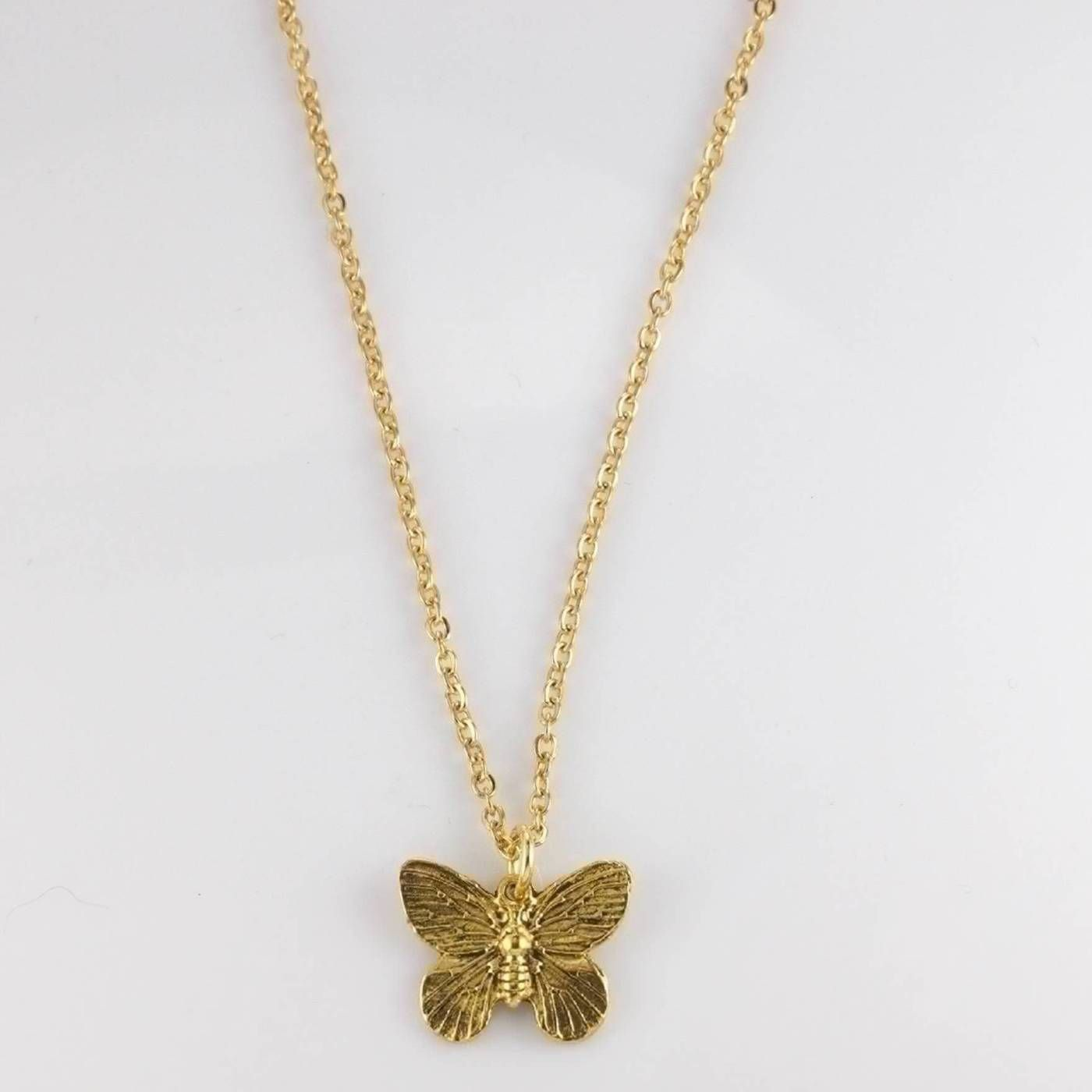 "8a582825010d0c 18k Gold Gold Playboi Carti AWGE Butterfly Pendant Necklace 20"" Link Chain  Size ONE SIZE"