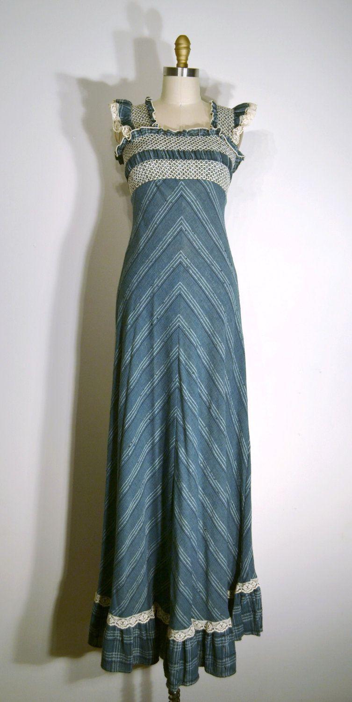 60s green dress  Vintage s Dress  s Maxi Dress  Dark Green u Ivory Lace