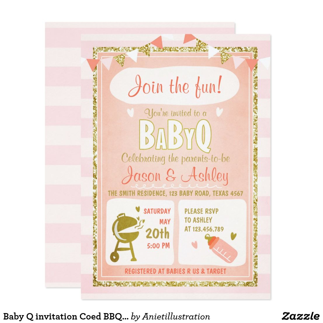 Baby Q Invitation Coed Bbq Baby Shower Invite Pink  Invitations