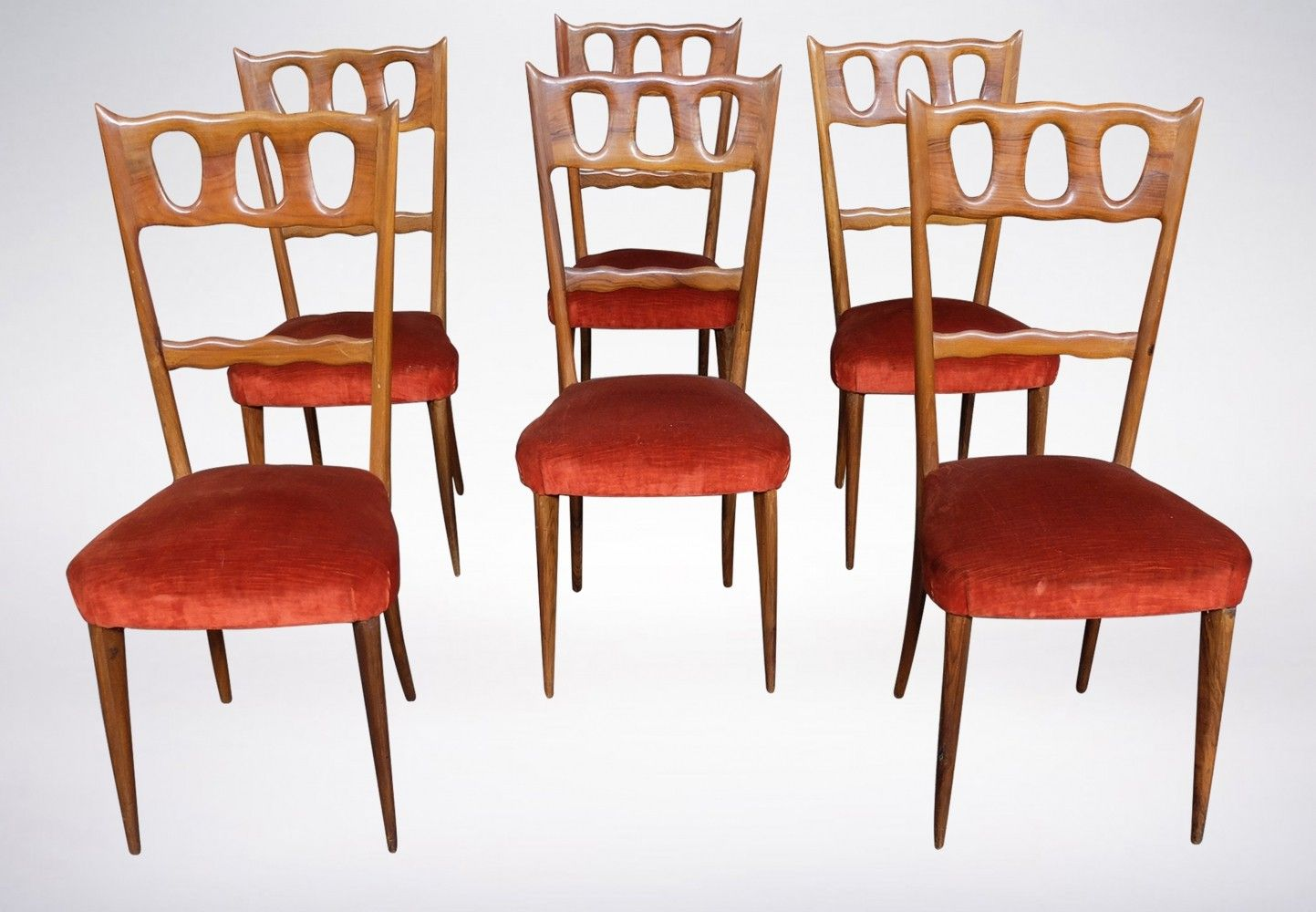 Set of Six Elegant Walnut & Red Velvet Chairs by Paolo Buffa