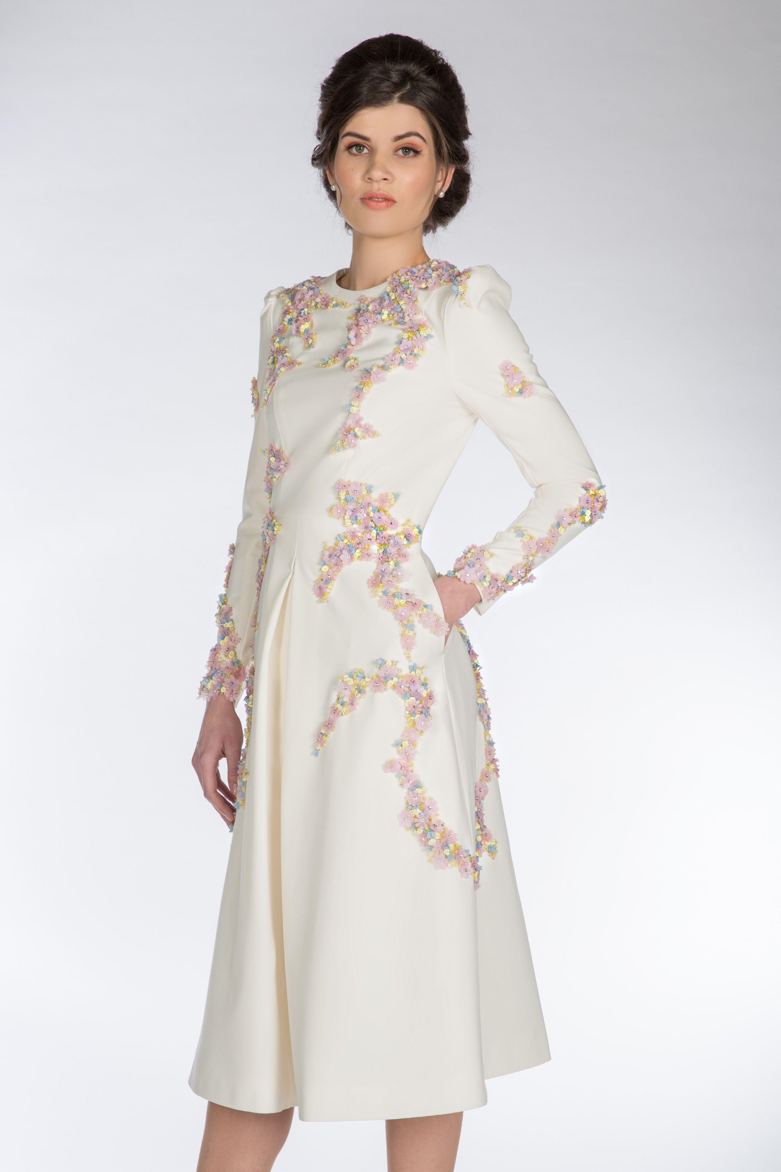 54f7e08eca7a CLAIRE MISCHEVANI Ivory Crepe Jardin Dress | Ivory Crepe Jardin ...