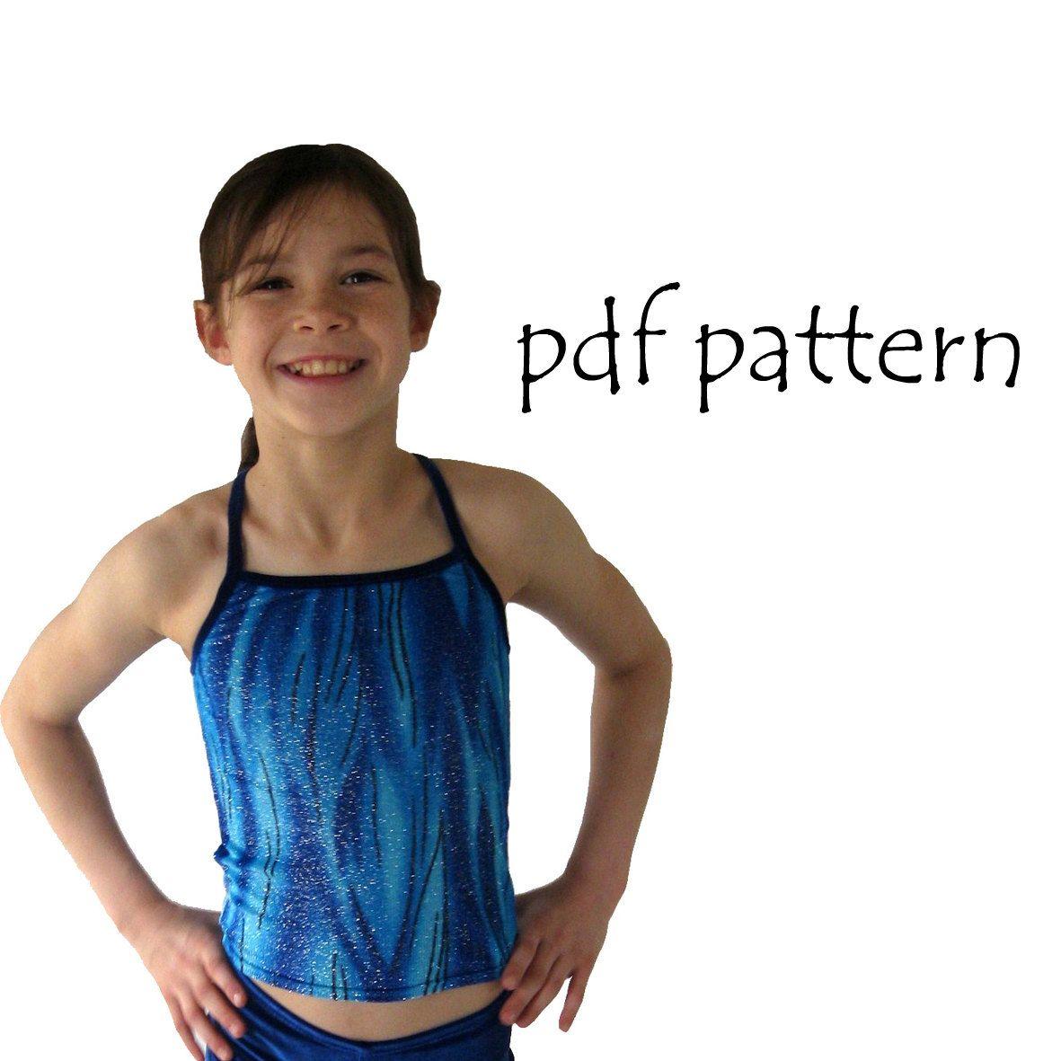 Maddi pdf sewing pattern Gymnastics Dance crop top shorts singlet ...