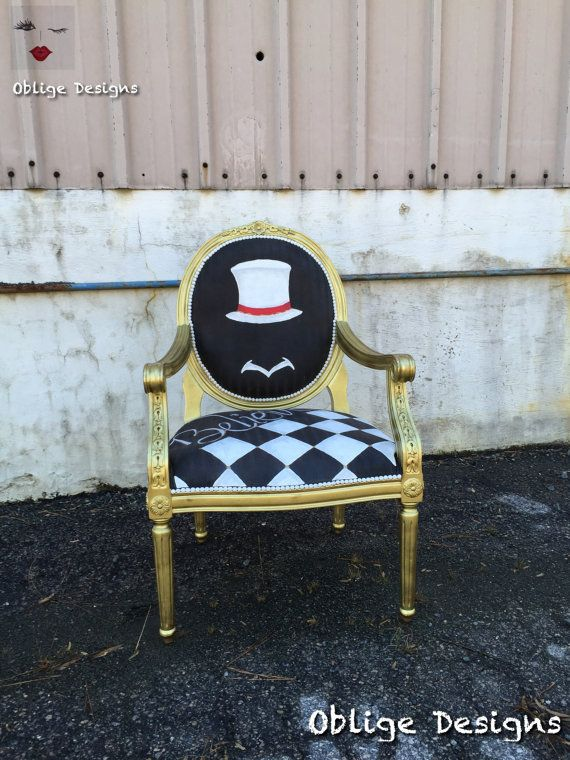 Believe Black White and Gold Vintage Style Chair by ObligeDesigns