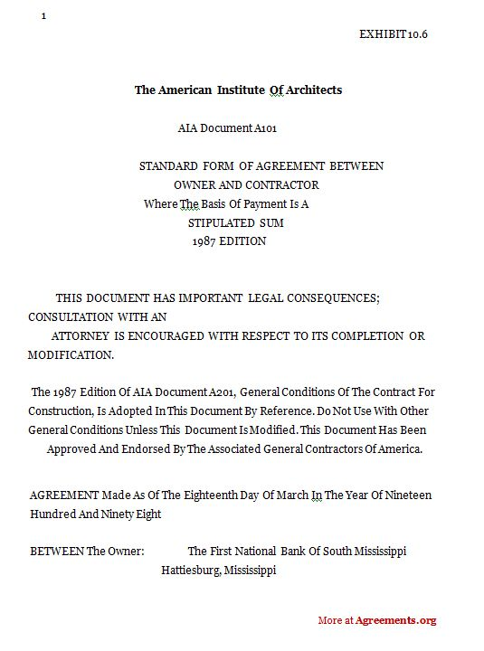 Construction AgreementSample Construction Agreement Construction - Aia construction contract template