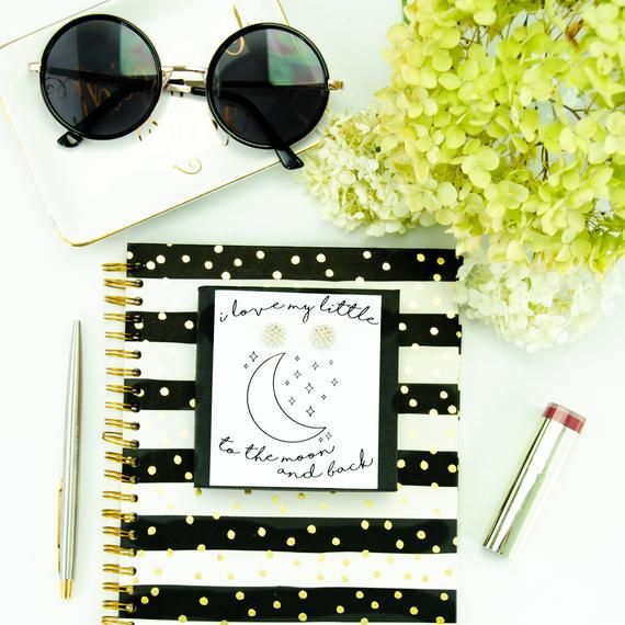 I Love My Little To The Moon & Back Sorority Card Pearls Stud Gift,Big Little Reveal Gifts,Greek Sorority Sister Gear,Sorority Recruitment #biglittlereveal