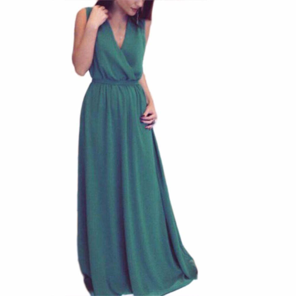 New cute solid sleeveless women fashion vneck elegant vestidos