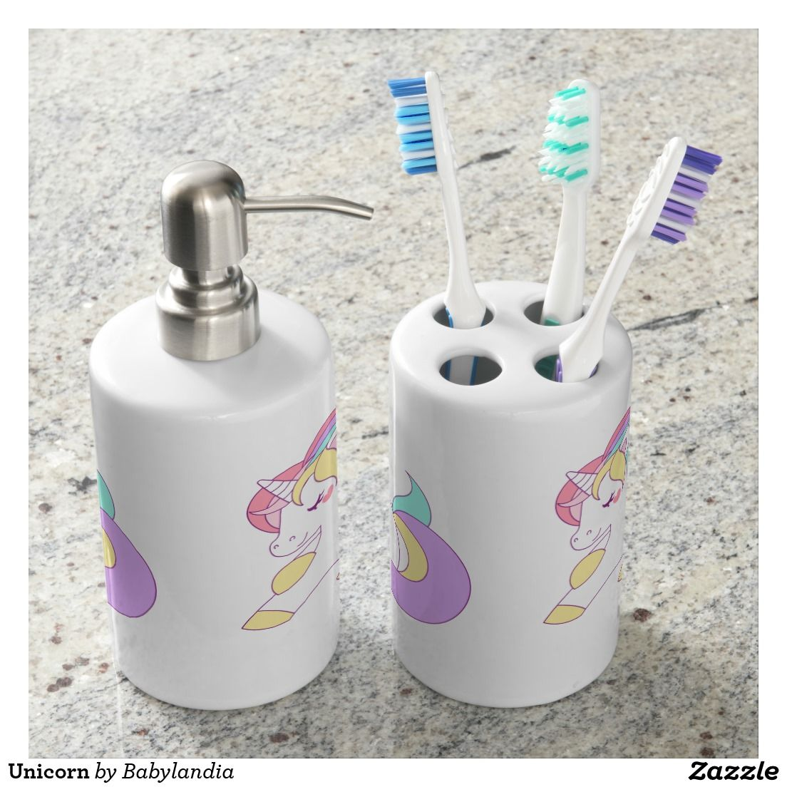 Unicorn Bathroom Set  Zazzle.com  Bath accessories set, Brushing