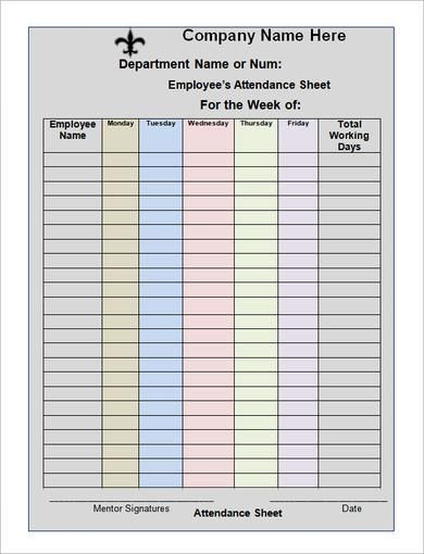 Pin by Theresa on attendance Pinterest Attendance sheet template - sample attendance sheet template