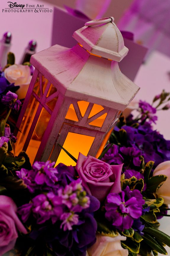 Illuminated Lanterns Paired With Purple Floral For A