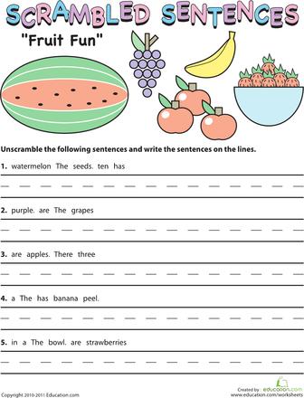 Scrambled Sentences: Fruit Fun | k-idras for school | Pinterest ...