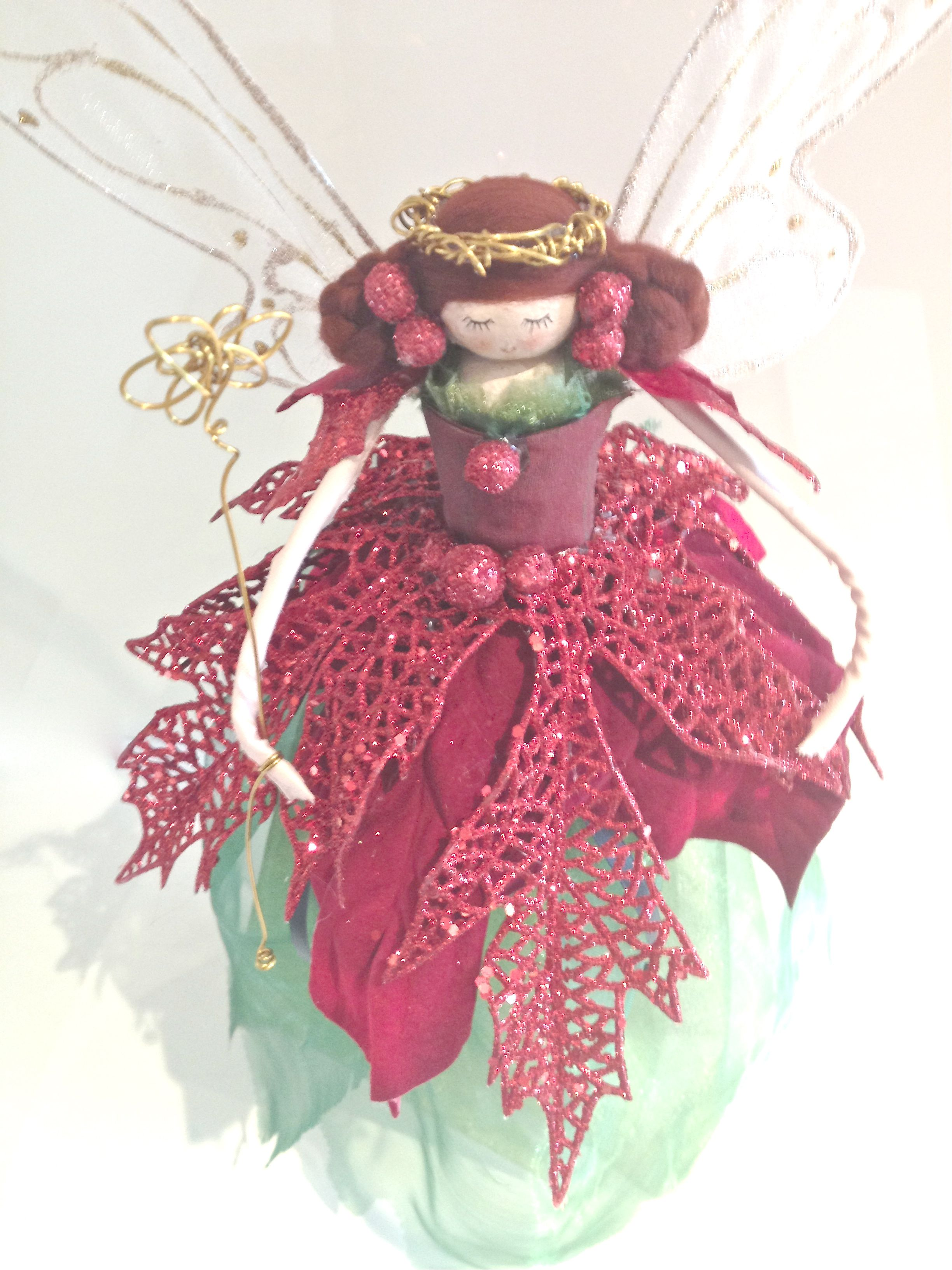 Traditional Red and Green Tree Topper - Cone Based  @ £30.00 www.fabulousfairyfactory.co.uk